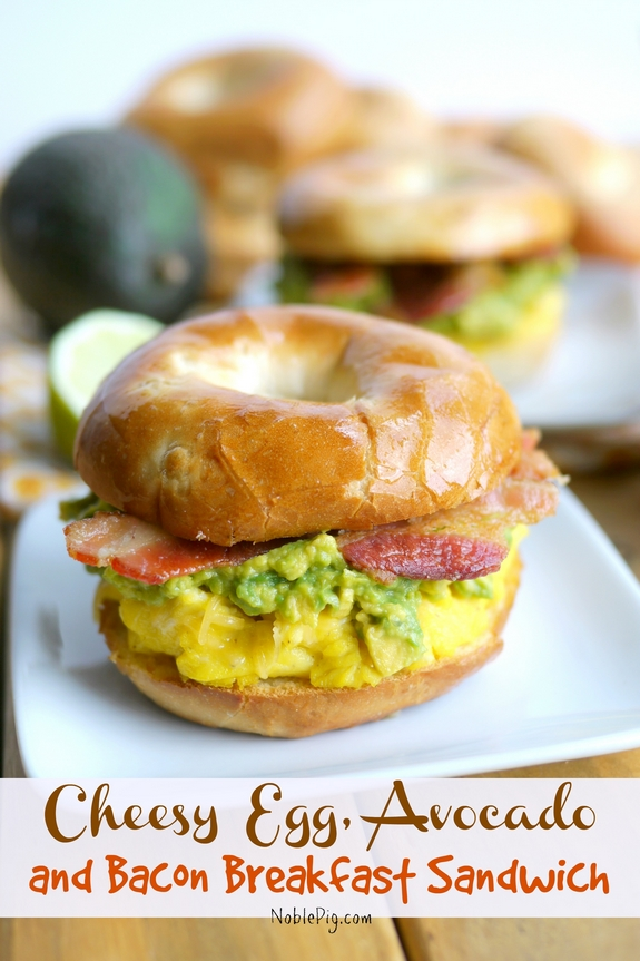 Cheesy Egg Avocado and Bacon Breakfast Sandwich