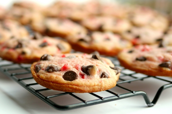 Soft Baked Maraschino Cherry Chocolate Chip Cookies its hard to eat just one