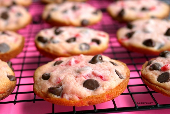 Soft Baked Maraschino Cherry Chocolate Chip Cookies perfectly pink