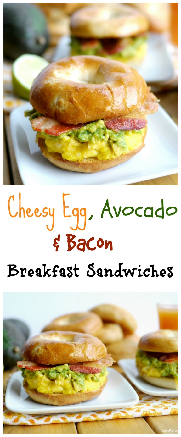 Cheesy Egg Avocado and Bacon Breakfast Sandwiches a great way to start the morning
