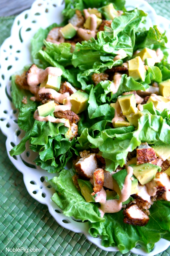 Southwest Chicken Avocado and Quinoa Lettuce Wraps perfect for a light and easy dinner and lunch