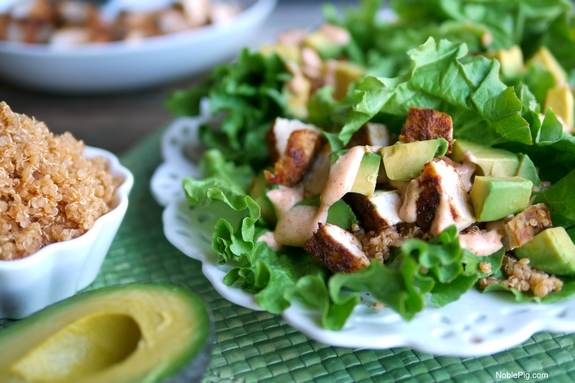 Southwest Chicken Avocado and Quinoa Lettuce Wraps