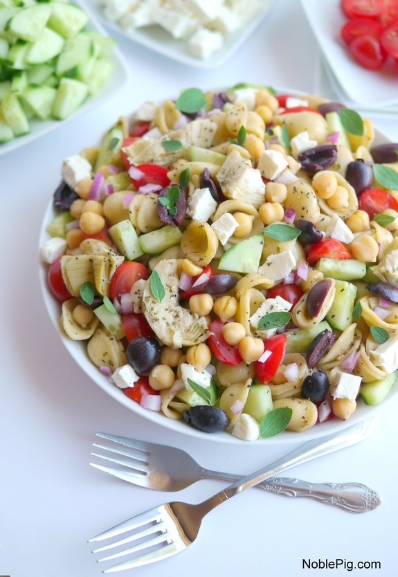 Greek Pasta Salad a family favorite around here