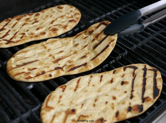 Grilled Avocado Barbecue Chicken Naan Pizza grilling
