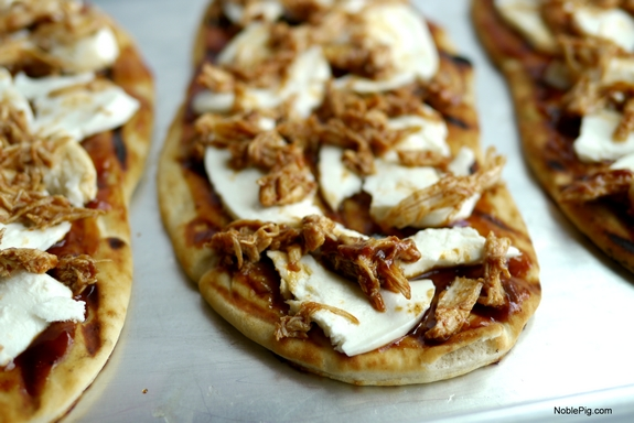 Grilled Avocado Barbecue Chicken Naan Pizza the chicken