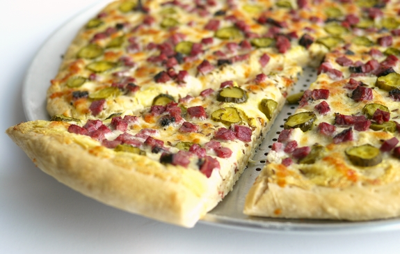 Dill Pickle and Hot Pastrami Deli Pizza by the slice or two