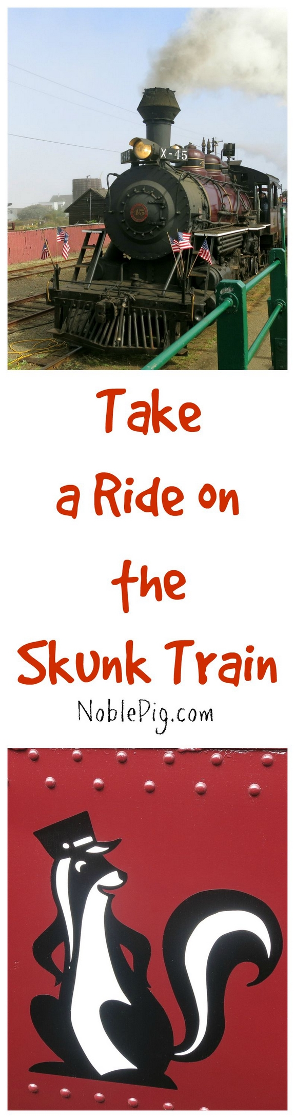 Take a ride on the Skunk Train in Mendocino California the kids and adults will enjoy this beautiful vintage train