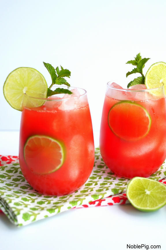 Watermelon Banana Rum Coolers a perfect summertime cocktail