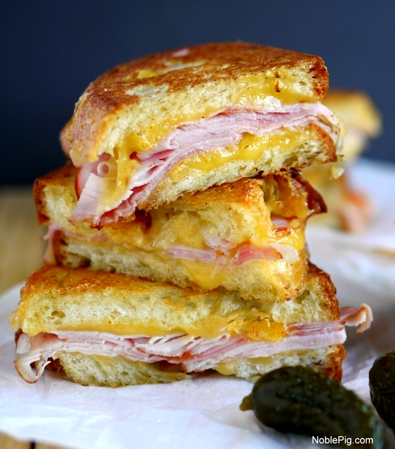 Epic Grilled Ham and Cheese Sandwich stack