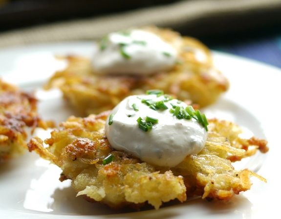 Panko Crusted Latkes with sour cream