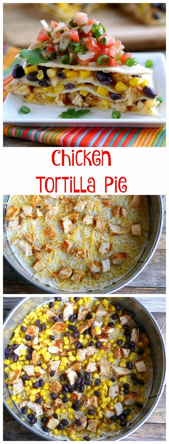 Chicken Tortilla Pie made in layers in a Springform Pan