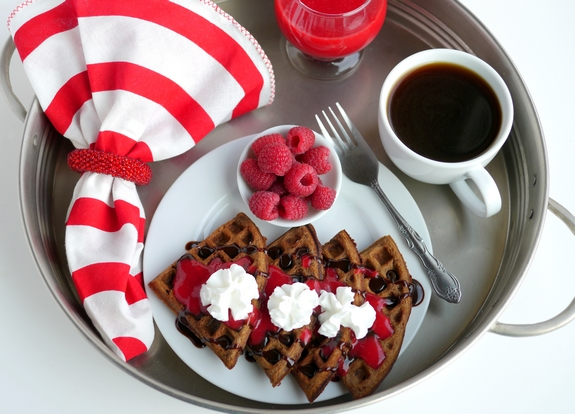Belgian Chocolate Waffles with Homemade Raspberry Sauce for breakfast