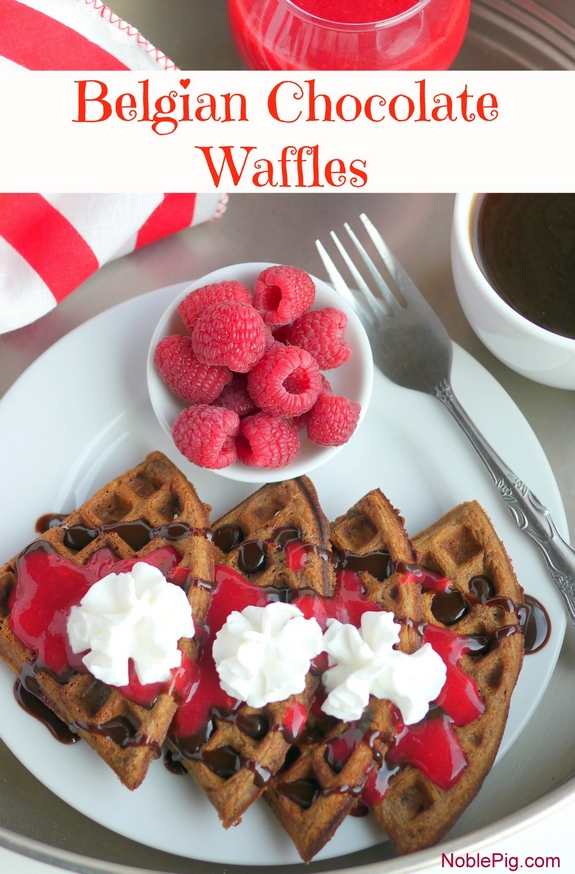 Belgian Chocolate Waffles with Homemade Raspberry Sauce is perfect for breakfast in bed