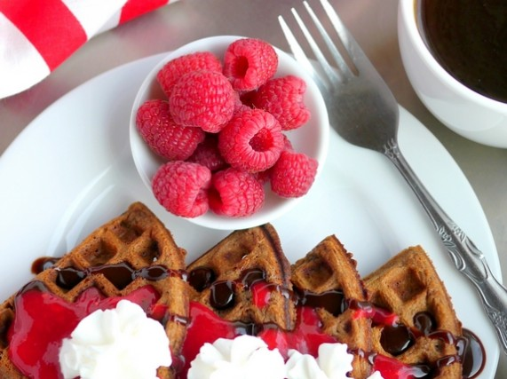 Belgian-Chocolate-Waffles-with-Homemade-Raspberry-Sauce-the-perfect-breakfast-in-bed