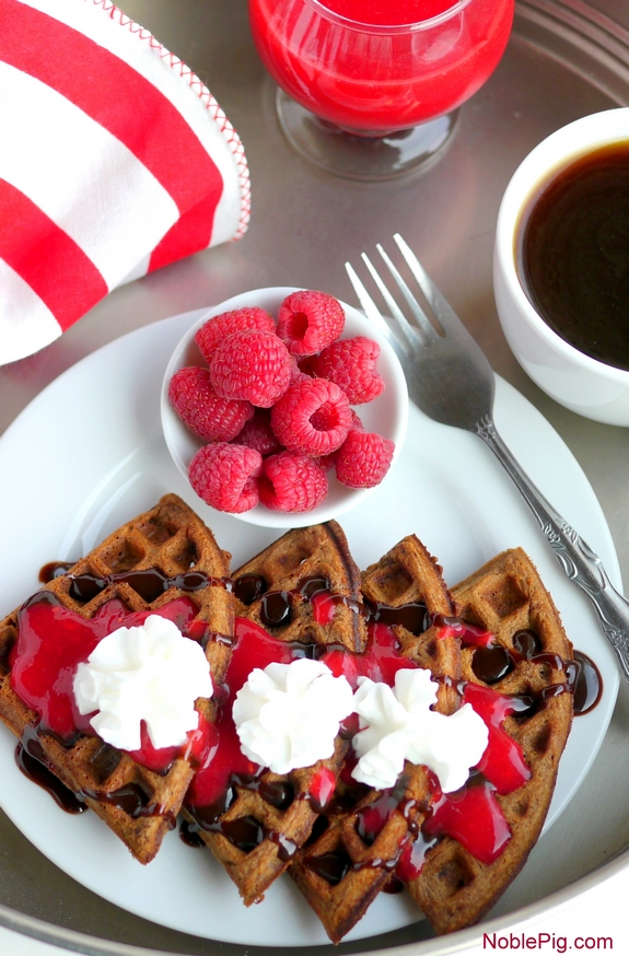 Belgian Chocolate Waffles with Homemade Raspberry Sauce the perfect breakfast in bed