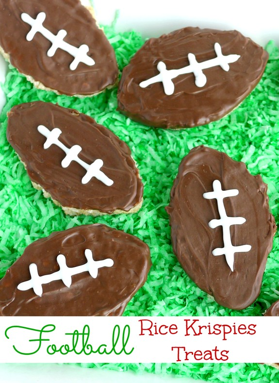 Football Inspired Rice Krispies Treats are an easy and festive dessert to whip up for game day