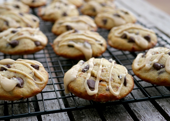 Bacon Banana Cookies with Peanut Butter Glaze on top