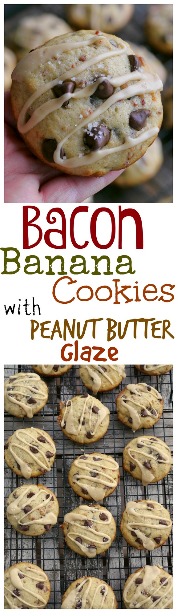 Bacon Banana Cookies with Peanut Butter Glaze