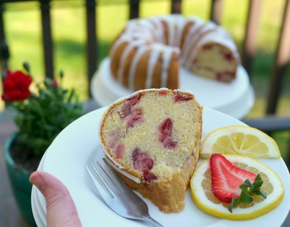 Strawberry Lemon Cream Cheese Pound Cake is perfect for an outdoor gathering