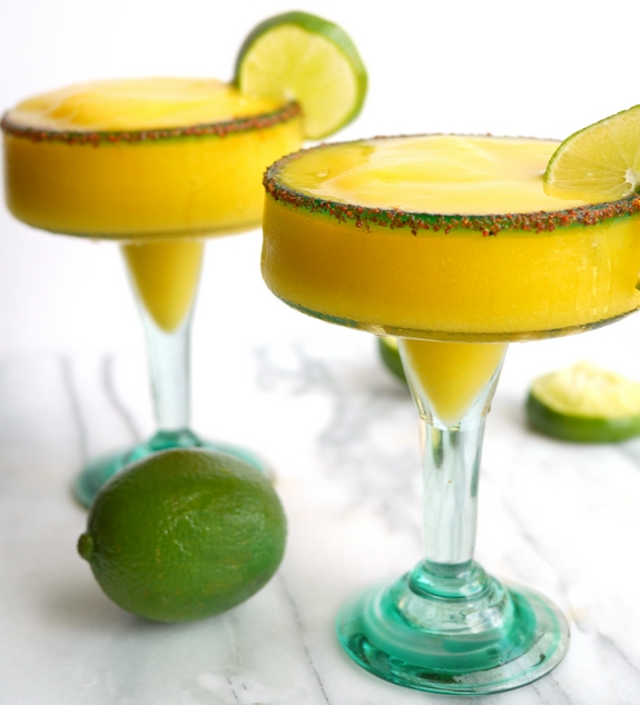 Spicy Mango Frozen Margaritas are ready to serve at your next party