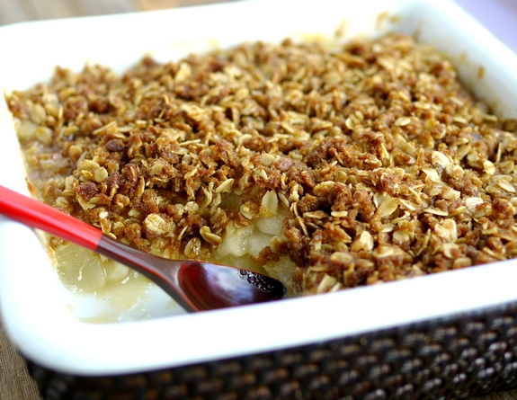 Fresh Pear and Ginger Crumble is a delicious treat