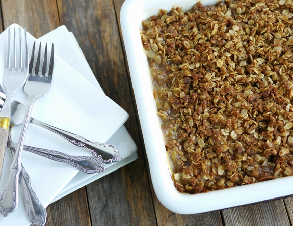 Fresh Pear and Ginger Crumble is a warm and seasonal treat
