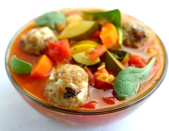 Here are the meatballs in a bowl of my Skinny Italian Vegetable Soup ...