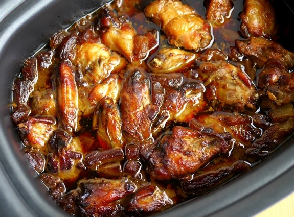Slow Cooker Honey Pineapple Chicken Wings in the pot