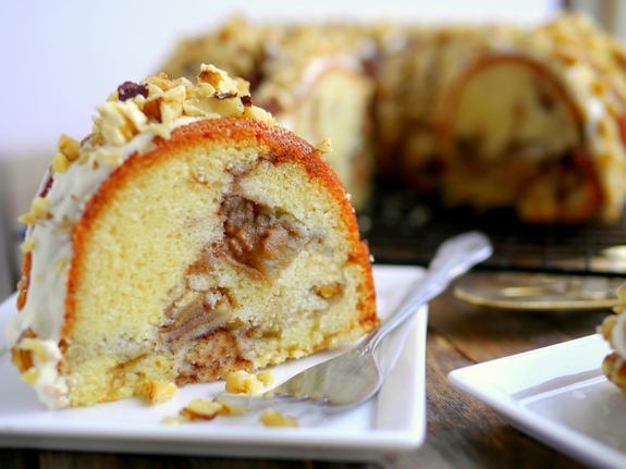 Apple Chai Cake with Maple Cream Cheese Drizzle just have a slice