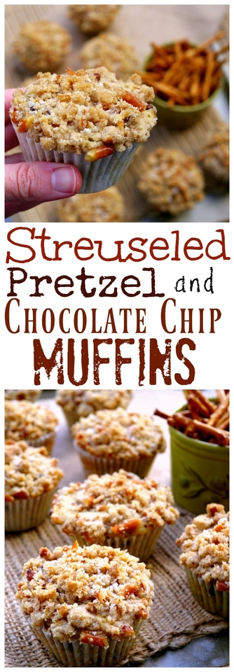 Streuseled Pretzel and Chocolate Chip Muffins