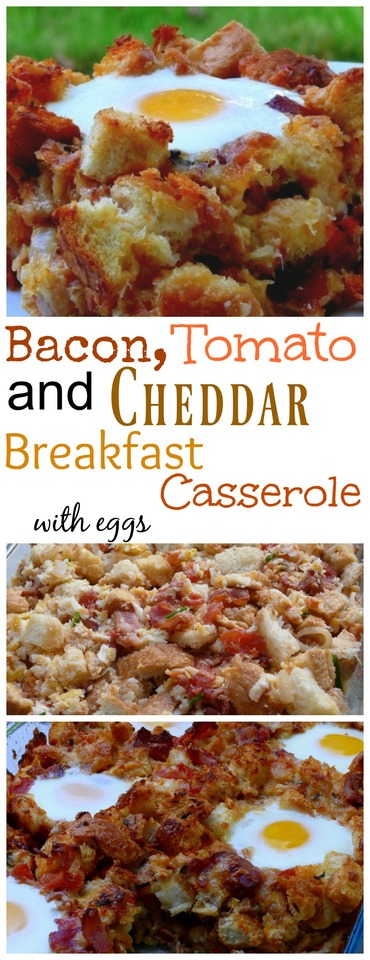 Bacon Tomato and Cheddar Breakfast Casserole with Eggs