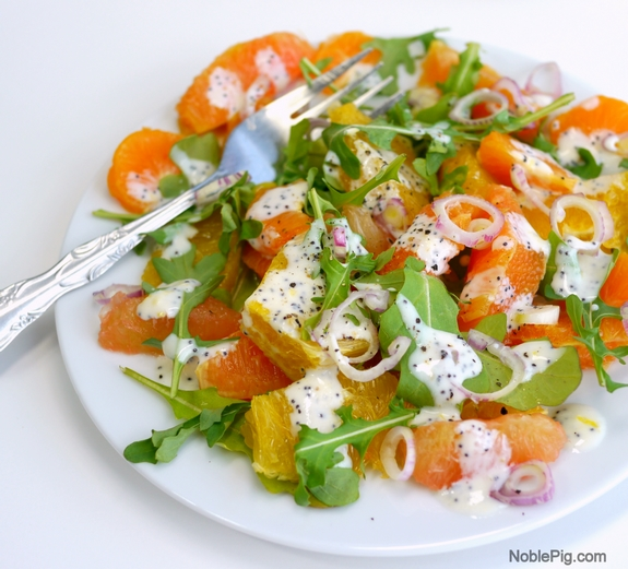 Noble Pig Fresh Citrus Salad with Homemade Poppyseed Dressing perfect for Spring