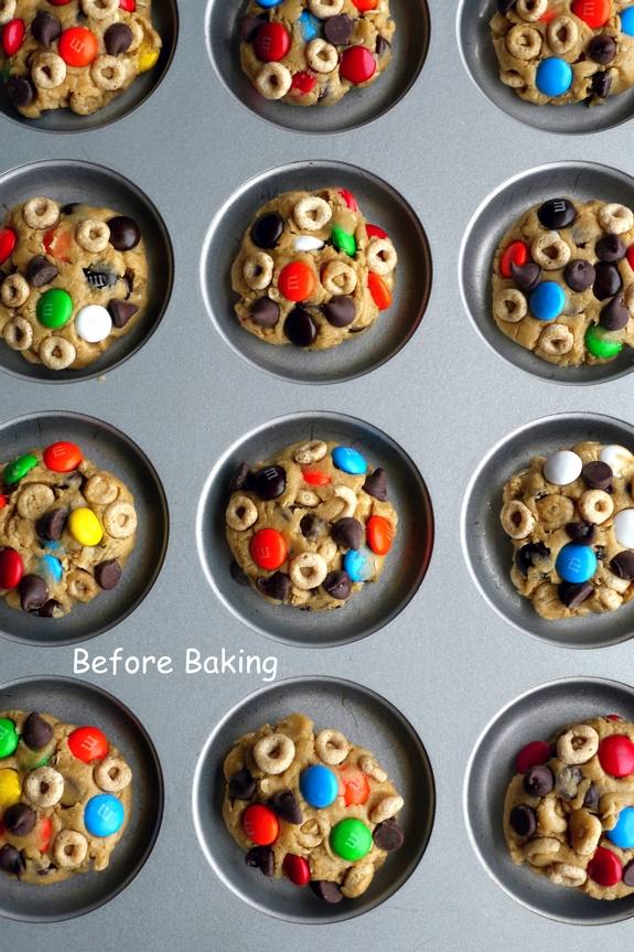 Soft Baked Cheerio Monster Cookies, before baking