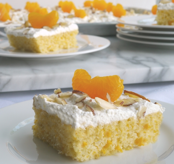 Mandarin Orange Sheet Cake with Whipped Cream Frosting