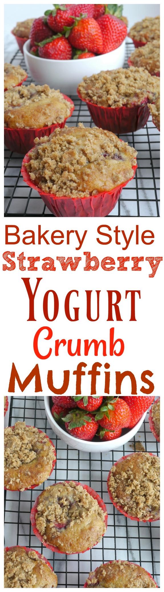Bakery Style Strawberry Yogurt Crumb Muffins
