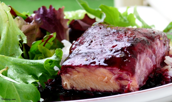 Baked Salmon with Blackberry Ginger Glaze | Noble Pig