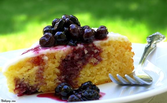 Lemon Cornmeal Cake With Lemon Glaze And Crushed Blueberry Sauce