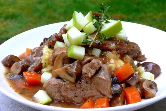 Pork & Mushroom Stew Served Over Apple-Potato Mash