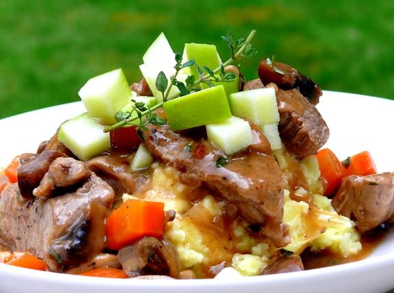 Serve stew over Apple-Potato Mash (recipe below). Garnish each serving ...