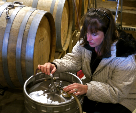 Cathy Pollak Topping Barrels Noble Pig Winery