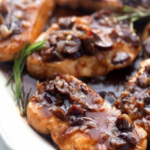 Ordinary pork chops turned extraordinary with a quick and easy balsamic vinegar sauce. This sauce is a secret weapon when it comes to jazzing up a midweek meal.