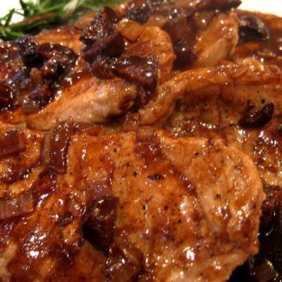 Boneless Pork Chops in a Shallot-Fig Reduction Sauce