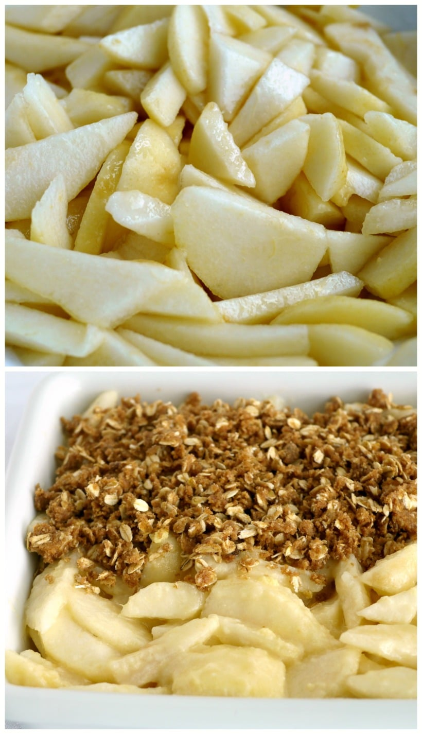 Sliced pears and crumble.