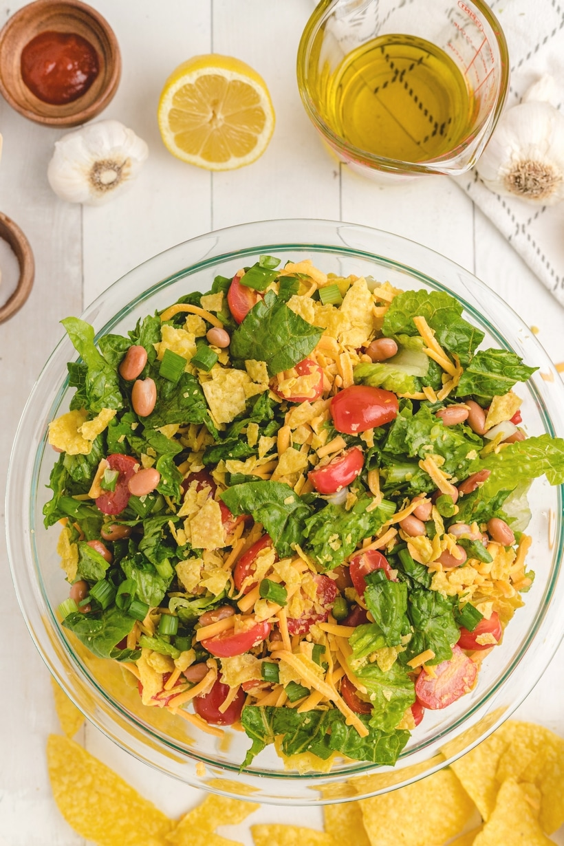 Mexican Salad with a Creamy Avocado Dressing is the perfect accompaniment to a heavy Mexican style meal. You can't beat the fresh flavors and colorful ingredients of this popular Mexican side dish.
