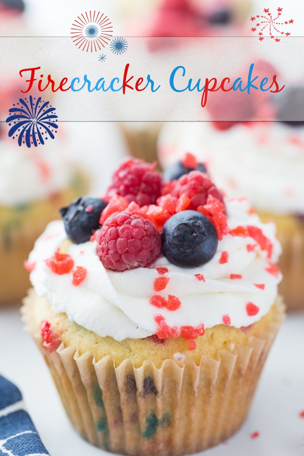 Firecracker Cupcakes - homemade funfetti cupcakes with a snap, crackle and pop finish. The perfect patriotic treat for all summer gatherings. via @cmpollak1