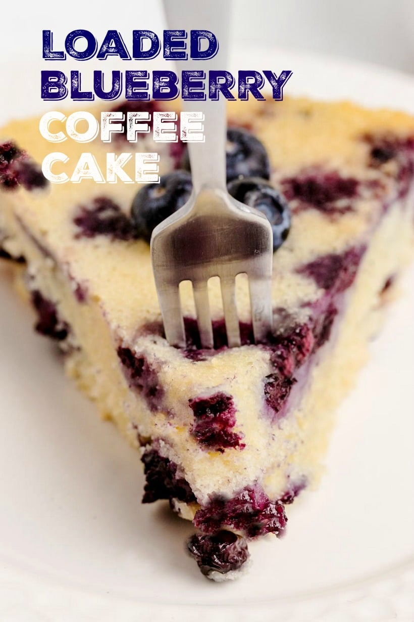 Stuffed with plump blueberries, this Loaded Blueberry Coffee Cake is soft, sweet and topped with turbinado sugar for a crunchy crust. The perfect tender cake for breakfast or brunch. #blueberry #blueberrycoffeecake #coffeecake #easterbrunch #brunchrecipe #easybrunchrecipes #blueberries via @cmpollak1