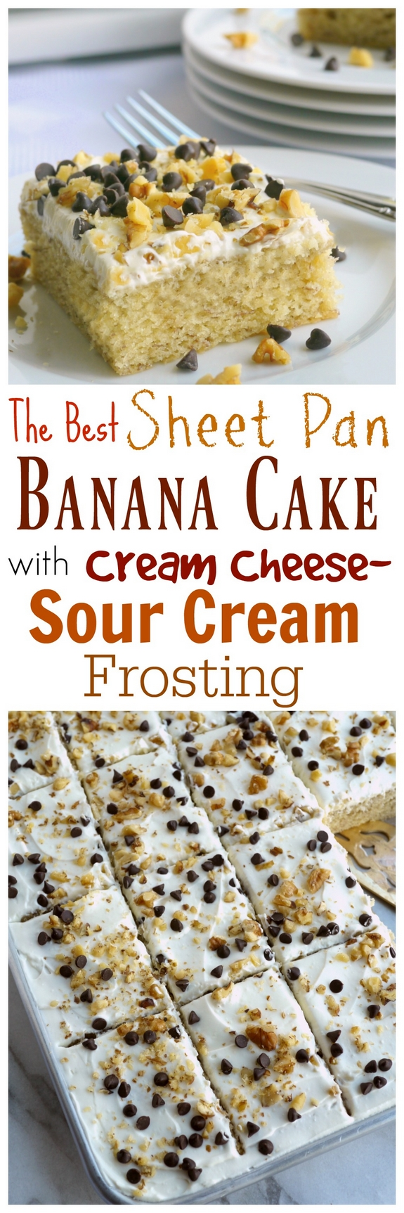 The Best Sheet Pan Banana Cake with Sour Cream-Cream Cheese Frosting