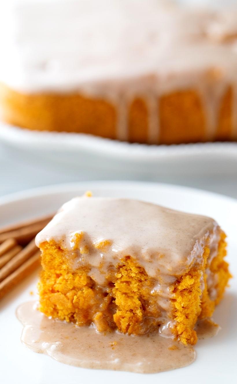 Pumkin cake with gooey glaze.