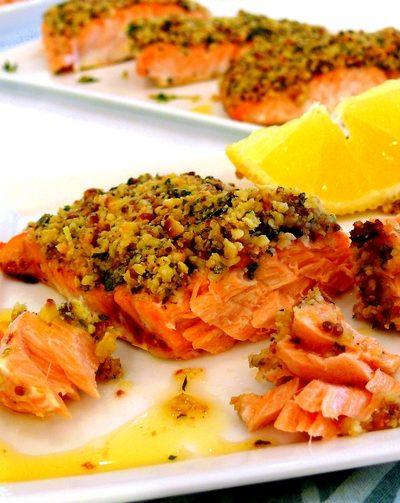 Roasted Salmon with a Lemon-Herb Matzo Crust