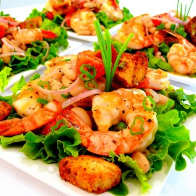 Shrimp and Cannellini Salad with Oregano-Chive Vinaigrette